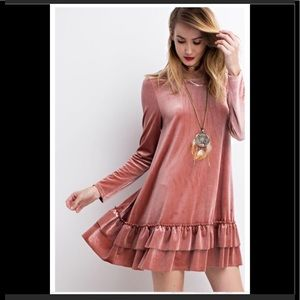 Easel Arie Long Sleeve Ruffle Shirt Dress Small
